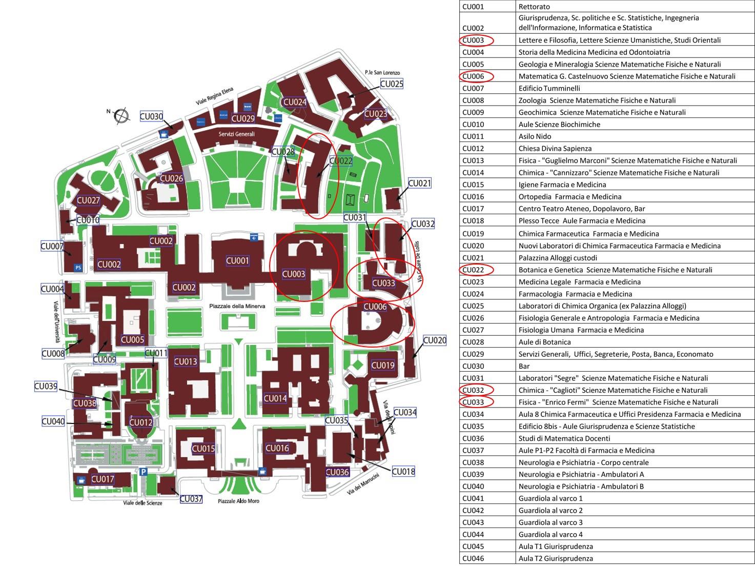 Mappa della città universitaria